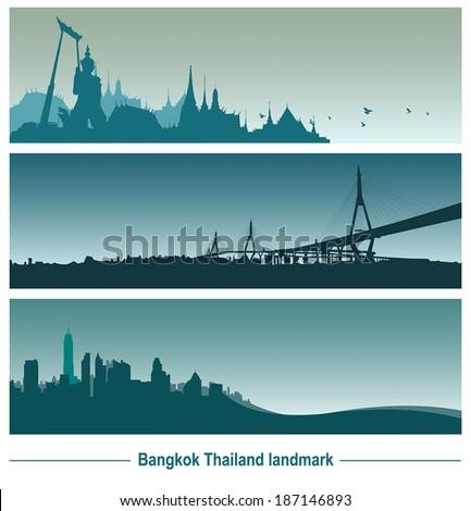 Bangkok Thailand landmark, vector Illustration. - stock vector