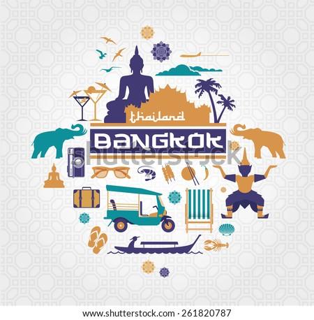 Bangkok - Thailand vector set - stock vector
