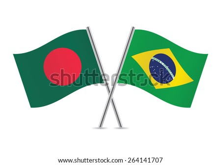Bangladesh and Brazilian flags. Vector illustration. - stock vector