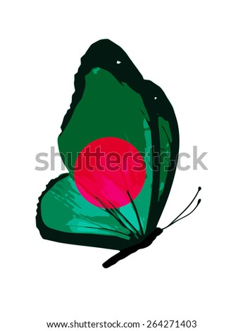 Bangladesh flag butterfly - vector - stock vector