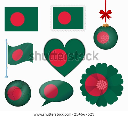 Bangladesh flag set of 8 items vector - stock vector