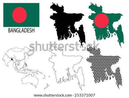 Bangladesh - Four optional contour maps, National flag and Asia map vector - stock vector