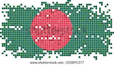 Bangladesh grunge tile flag. Vector illustration Eps 8. - stock vector
