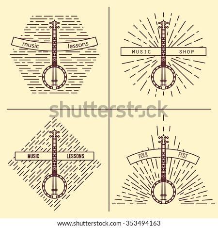 Banjo logotype. Vintage styled vector illustration. Vector clip art. Retro design element for music store packaging, studio or t-shirt design. - stock vector