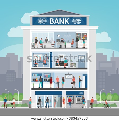 Bank building with people working and room interiors, office, front desk, waiting room, self service atm and entrance, finance and banking concept - stock vector