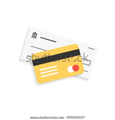 bank check and golden credit card with shadow. concept of exchange method, tax, audit, e-commerce debt, investment, earning. flat style trend modern logo design vector illustration on white background - stock vector