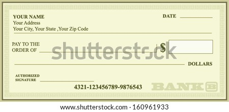 BANK CHECK, bank cheque vector - stock vector