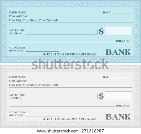 BANK CHECK, bank cheque vector  - stock vector