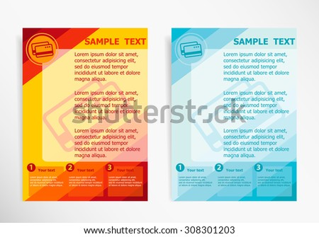 Bank credit cards sign  on abstract vector modern flyer, brochure vector template. - stock vector