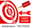 Bank credit report score card target dart arrow design elements - stock vector