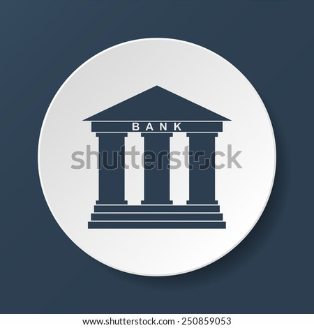 Bank icon in flat style with the building facade with three pillars illustration - stock vector