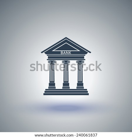 Bank icon with the building facade with three pillars. Vector - stock vector