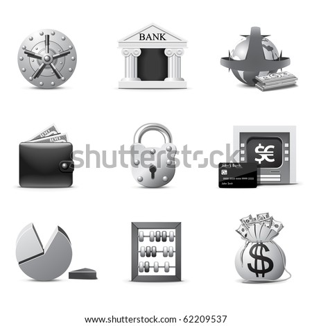 Bank icons | B&W series - stock vector