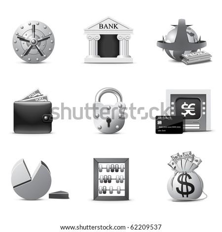 Bank icons | B&W series - stock vector