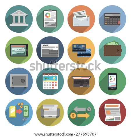 Bank icons flat set with atm money trading finance check isolated vector illustration - stock vector