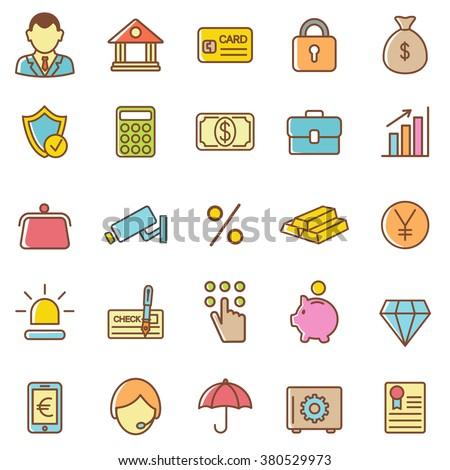 Bank icons set.Vector - stock vector