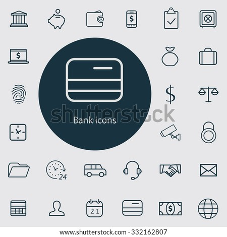 bank Icons Vector set. bank Icons Symbol set. bank Icons Picture set. bank Icon Image set. bank Icons Shape set. bank Icons Sign set outline, thin, flat for web and mobile  - stock vector