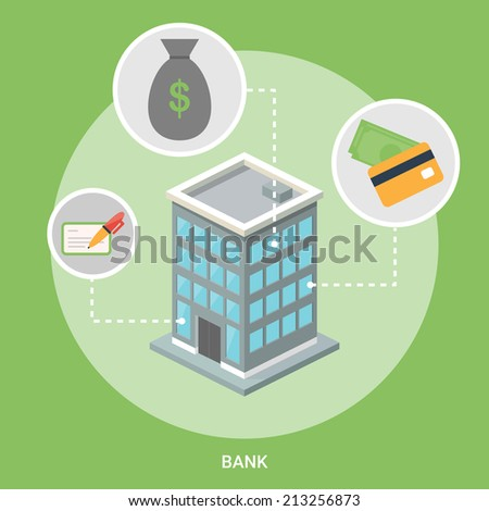 Bank isometric building, flat icons - stock vector