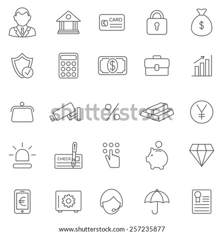 Bank line icons set.Vector - stock vector
