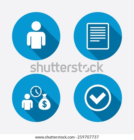 Bank loans icons. Cash money bag symbol. Apply for credit sign. Check or Tick mark. Circle concept web buttons. Vector - stock vector