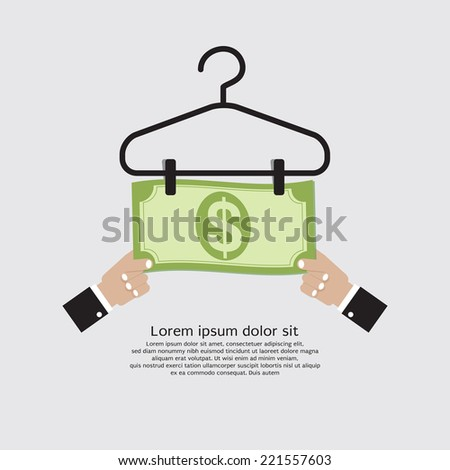 Bank Note Dry On Clothes Hanger Finance And Business Concept Vector Illustration - stock vector