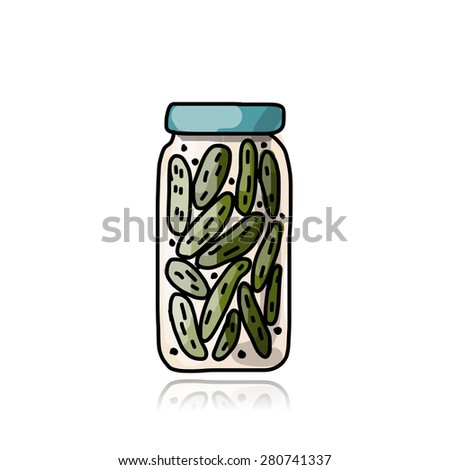 Bank of pickled cucumber, sketch for your design. Vector illustration - stock vector