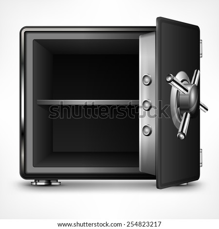 Bank open safe empty on white, vector illustration - stock vector
