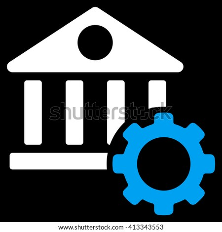 Bank Options vector icon. Style is bicolor flat icon symbol, blue and white colors, black background. - stock vector