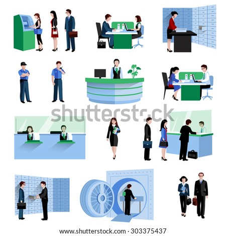 Bank people customers and staff decorative icons flat set isolated vector illustration - stock vector