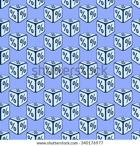 Bank rate seamless pattern background. Dice seamless pattern with percent. Deposit rate. Interest rate. Vector illustration. - stock vector