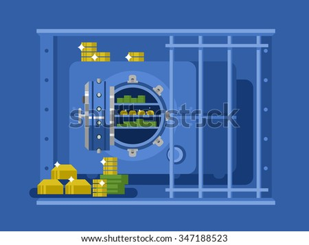 Bank safe flat design. Money and wealth, protection safety, finance deposit, business security, vector illustration - stock vector