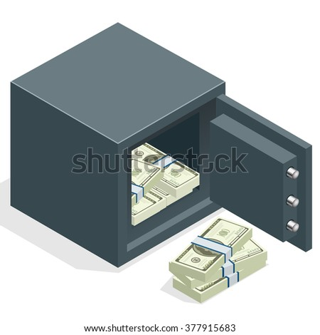 Bank safe with money dollar stacks. Safe open with money. Vector 3d isometric illustration - stock vector