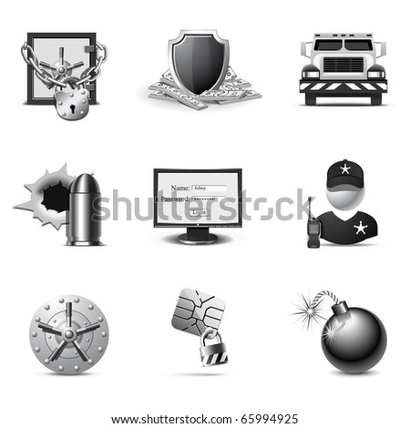 Bank security icons | B&W series - stock vector