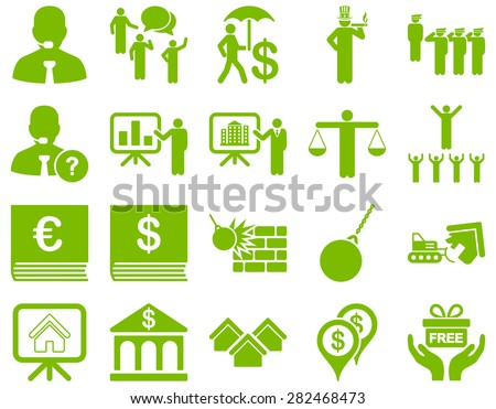 Bank service and people occupation icon set. These flat symbols use eco green color. Vector images are isolated on a white background. Angles are rounded. - stock vector