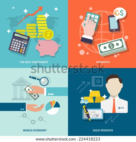 Bank service best investment payments world economy gold reserves flat icons set isolated vector illustration - stock vector