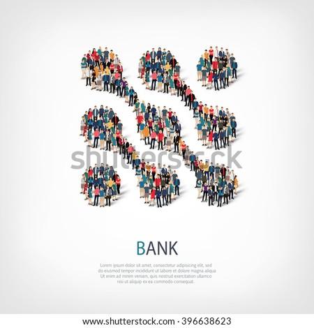 bank symbol people crowd - stock vector