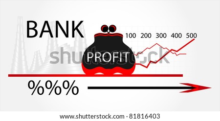bank with purse and chart - stock vector