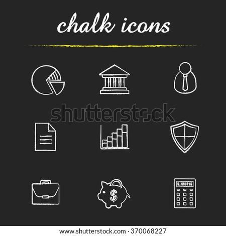 Banking and finance chalk icons set. Online banking customer service icons. Bank building, money saving piggy bank and income diagram. White illustrations on blackboard. Vector chalkboard logo concept - stock vector