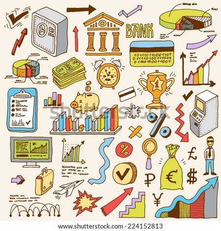 Banking and finance colorful doodle set. Hand drawn. Vector illustration. - stock vector