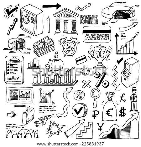 Banking and finance doodle set. Hand drawn. Vector illustration. - stock vector