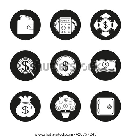 Banking and finance icons set. Purse with cash, money spending calculations, investor search, dollar coin and bills stack, bank money bag and money tree. Vector white illustrations in black circles - stock vector