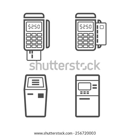 Banking and money terminal line style vector icon set - stock vector