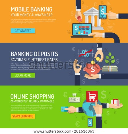 Banking banner horizontal set with mobile deposit and online shopping elements isolated vector illustration - stock vector