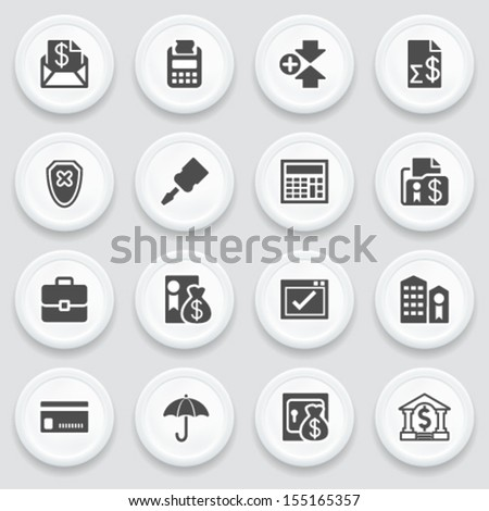 Banking black icons on with buttons. - stock vector
