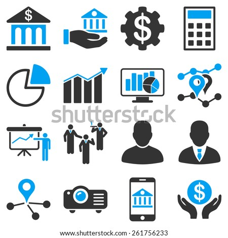 Banking business and presentation symbols. These icons use modern corporate light blue and gray colors. - stock vector