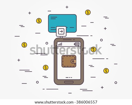 Banking card mobile payment vector linear illustration. Smartphone card swiping payment technology creative concept. Secure card reader for phone (wallet, transfer, customer, wireless) graphic design. - stock vector