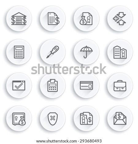 Banking flat contour icons on white buttons. - stock vector