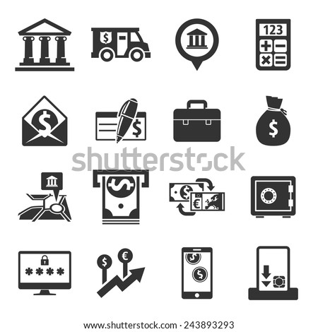 Banking icons // black - stock vector