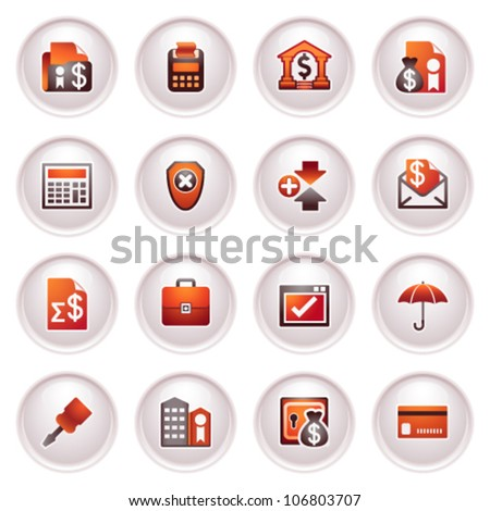 Banking icons. Black red series. - stock vector