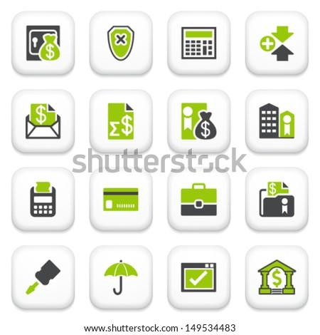 Banking icons. Green gray series. - stock vector
